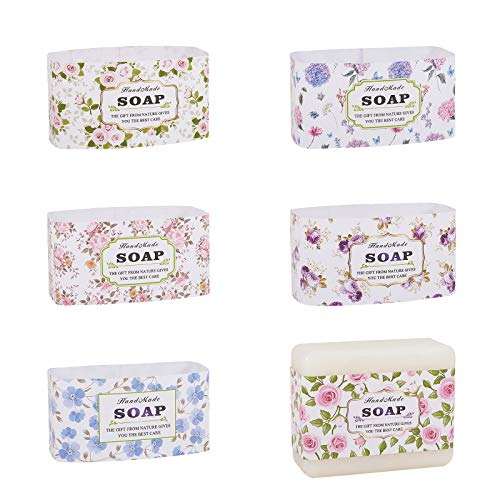 PandaHall 60 unidades de 6 estilos de envoltura de jabón, cinta de papel vertical, etiquetas de jabón para barra de jabón casera, caja de regalo de jabón
