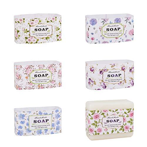 PandaHall 60pcs 6 Style Seifenverpackungen Seifenwickelpapierband Vertikale Seifenetiketten Für Hausgemachte Seifenstücke, Seifen-Geschenkbox-Verpackung