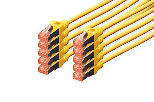DIGITUS - 10 Stück - Patch-Kabel Cat-6 - 0.5m - S-FTP Schirmung - Kupfer-Adern - LSZH Mantel - Netzwerk-Kabel - Gelb