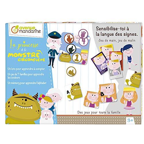 Avenue Mandarine JS001C - Caja de la Princesa y el Monstruo circunflexe con 5 Tablas + 20 Filas, Juego de 7 familias 49 Tarjetas y un memorando 52 Cartas