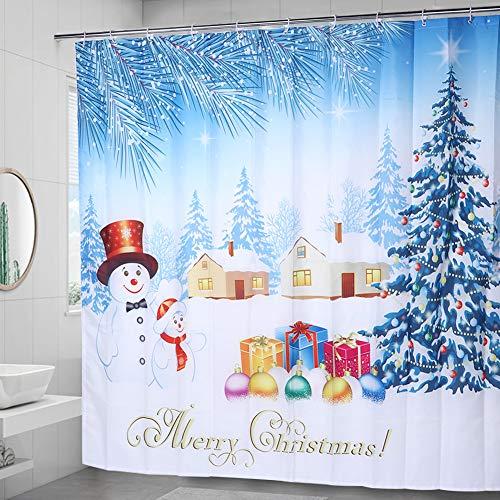 Alinory Weihnachtsmotiv mit hängenden Haken Badvorhang, 200x180cm langlebiger Bad Duschvorhang, für zu Hause