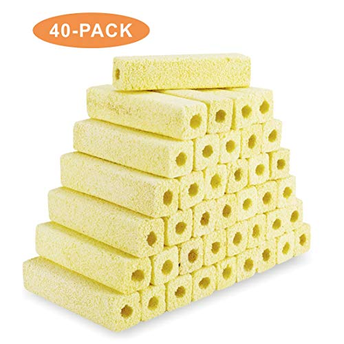 Hygger 6.2-Inch Long Large Aquarium Filter Media, Ceramic Bio Media Blocks for Sump Tank Pond Fish Tank Media (7.9 lbs,40-Pack)