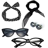 50's Costume Accessories Set Chiffon Scarf Cat Eye Glasses Bandana Tie Headband and Earrings (OneSize, Black)