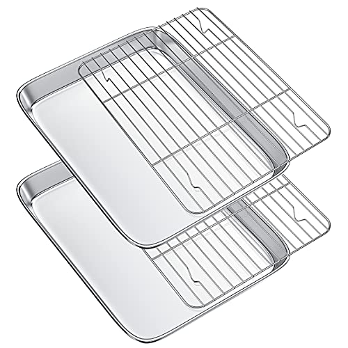 Gtmkina Toaster Oven Tray Pans with Cooling Rack,Stainless Steel Cookie Sheet for Baking and Roasting,Rectangle Size 10.8″ x 8.4″ x 1.4″,Mirror Finish & Anti-Rust,Thick & Sturdy(2 Sets)