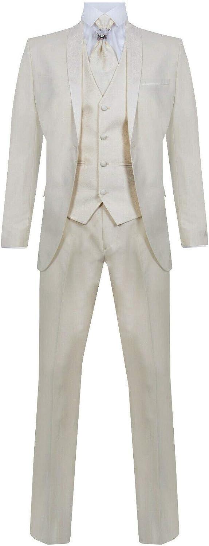 Mens 4 Piece Wedding Suit Groom Vintage Shawl Collar Cravat Tailored Fit