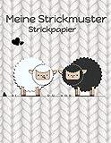 Strickpapier: Meine Strickmuster Blanko Stricken Notizbuch Verhältnis 4:5 Strick-Design schwarzes und weißes Schaf Cover