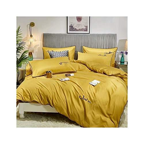 KAVNAR Juego de Cama Francesa Tencel de Cuatro Piezas Hoja de edredón Duvet Cover Set Tencel Ropa de Cama de satén (Color : Ginger, Size : Quilt Cover 2x2.3M)