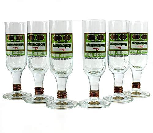 Moskovskaya Vodka Gläser 6er Set Wodka Shot-Glas geeicht ~mn 1056 1144
