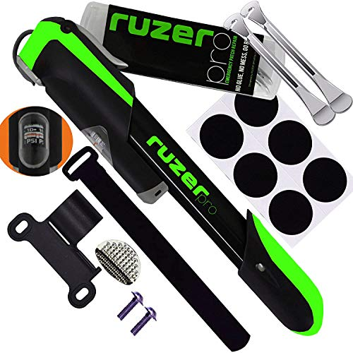RUZER PRO Bike Pump with Pressure Gauge repair kit, 140 PSI Full Set Mini Bicycle Pump, 6 Glueless Patch Kit, Metal tyre levers and Frame Mount Fits Presta &Schrader Valve