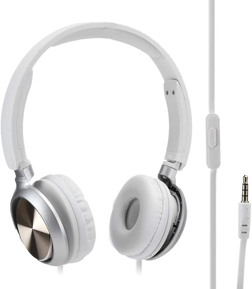 Camidy Kids Wired Headphones,On Ear Gaming Headset with Noise Canceling Mircophone Support Call Music Handsfree Earpiece for Laptop Phone