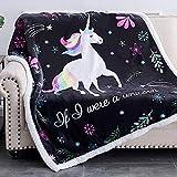 RHF Cute Fuzzy Birthday Unicorn Blanket Girls Cartoon Unicorn with Unicorn Gifts for Women,Throw, 50' x 60', Black