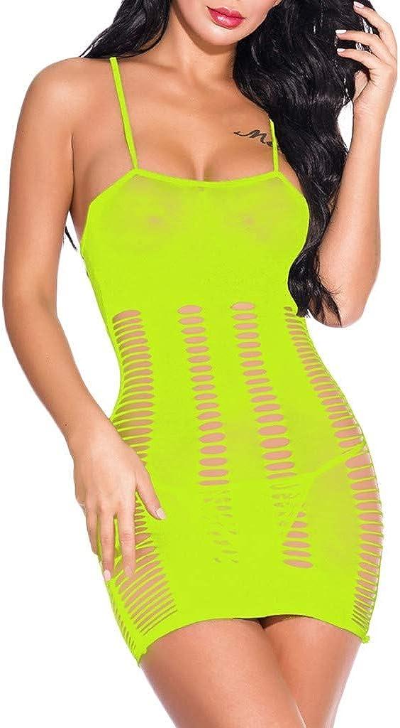 Gergeos Fashion Women Mesh Sexy Lingerie Fishnet Hollow Underwear Babydoll Mini Dress Free Size Bodysuit