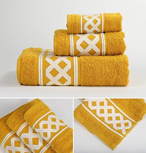 Energy Colors Textil - Hogar - Cenefa Siria - Juego de Toalla 3 Piezas 100% Algodón de 500 Gramos Ducha Lavabo y Vidé (Oro)