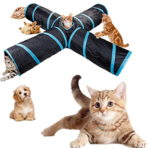 MatSailer cat Tube Tunnel cat Tunnels for Indoor Cats Large Collapsible 4 Way cat Tunnel Crinkle for Cat, Dog, Puppy, Kitty, Kitten, Rabbit