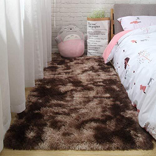 Modern Shaggy-vloerkleed tie-dye karpet hoogpolig tapijt zacht pluizig vloerkleed fluwelen harige vloerkleden antislip vloermat pluche Shag-vloerkleed bruin 230x160cm (91x63inch)