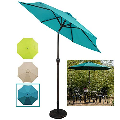 SCJ Garden 2.25m/7.4ft Outdoor Patio Table Umbrella with Crank Handle and Tilt Function, for Yard Deck Camping Lawn Restaurant (Color : Lake Blue)