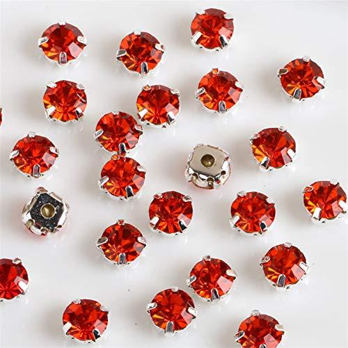 WGGTX Home Storage & Organisation 200 stücke 5mm SS24 Glas Silber Basis Rhinestones Klarer Kristall Mix Farben Nähen Auf Strass Klaue Nähen DIY Kleidungsstück Zubehör (Color : Orange, Size : 200pcs)