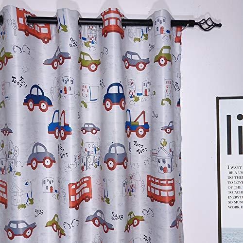 2er-Set Karikatur blickdichte vorhänge für Kinder Kinderzimmer (175*140 cm, Karikatur-Auto)