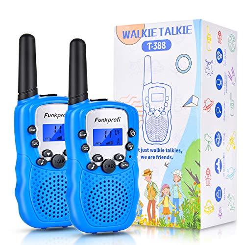 Funkprofi 2X Walkie Talkie Set für Kinder T-388 Funkgeräte 1-3KM Reichweite PMR446 8 Kanal mit Taschenlampe Geschenk für Jungen Mädchen ab 3 Jahre alt(Blau)