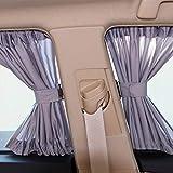 Set Universal Car Side Window Cortinas de sombrilla Auto Windows Cortina Sol Visor Persianas Cubrir el estilo de automóvil, Mantenga su vehículo fresco y sin daños (2pcs),Band elastic,60X39CM