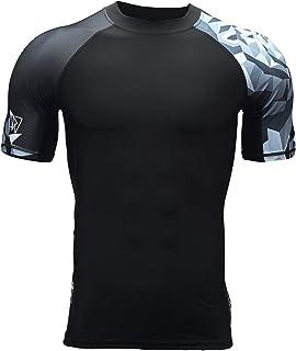 HUGE SPORTS Men's Splice Compression Short Sleeve Rash Guard Surf Wetsuit Swim Shirt UV Sun Protection UPF 50+