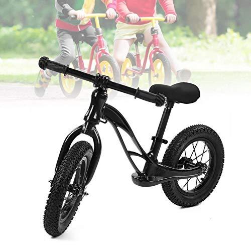 Qqmora Bicicleta de Equilibrio de Metal Super Junior Deslizante para niños con Marco de Acero de Nailon para Ejercicio Deportivo al Aire Libre Que cultiva el interés(Black)