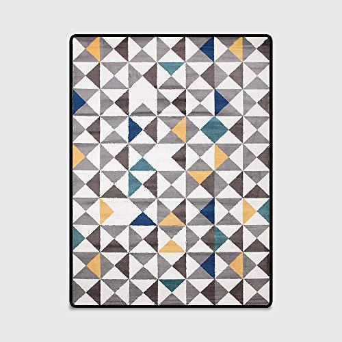 Karpetten voor in de woonkamer Slaapkamer Designer Tapijt Geometrisch eenvoudig geel groen blauw grijs driehoek kristal fluweel Makkelijk schoon te maken tapijt,40 * 120cm