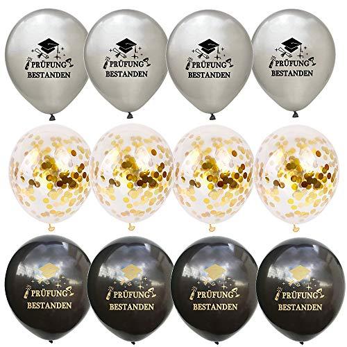 Feelairy 12 Stück Prüfung Bestehen Konfetti Luftballons, Glückwunsch Abschluss Party Deko 2020 für Schulabschluss Abi Abitur Studium Führerschein (Gold Schwarz Silber)