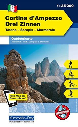Italien Outdoorkarte 06 Cortina d'Ampezzo Drei Zinnen 1 : 35.000: Tofane, Hohe Gaisl, Marmarole. Wanderwege, Radwanderwege, Nordic Walking, Skilanglauf, Skitouren (Kümmerly+Frey Wanderkarten)
