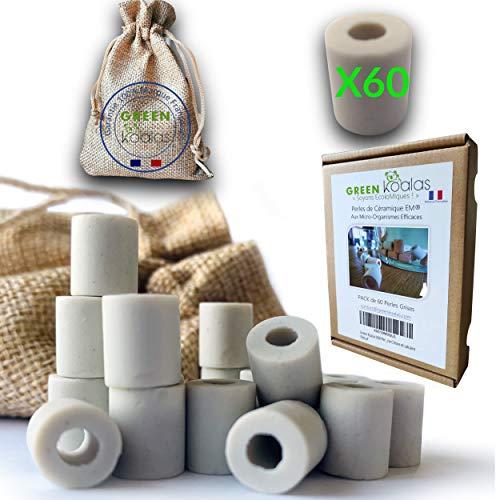 GREEN KOALAS X60 GREY EM Cuentas de cerámica con microorganismos eficientes Cuentas de purificación natural para la filtración del agua Fuente de agua del grifo Decantador de la fuente Cafetera Hervid