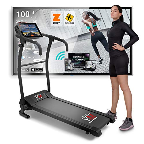 YM TAP100 Cinta De Correr Eléctrica Plegable 10 km/h, Aplicaciòn Compatible Kinomap y Zwift, 12 Programas, Sensor Cardìaco Lubricaciòn Automàtica, Gran Pantalla LCD Digital, 750W (1800W / 2,5HP Pico)