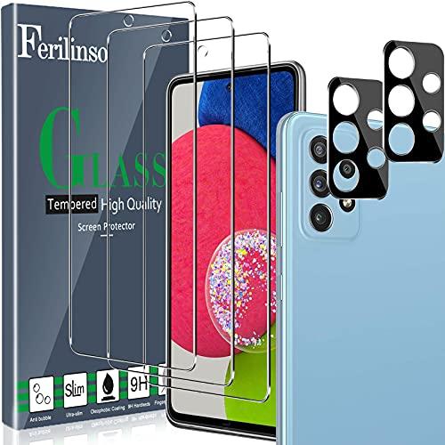 Ferilinso [5 Pack] 3 Piezas Protector de Pantalla para Samsung Galaxy A52 4G&5G/ A52s 5G Cristal Templado + 2 Piezas Protector cámara Protector de Lente de Cámara[9H Dureza] [Compatible con la Funda]