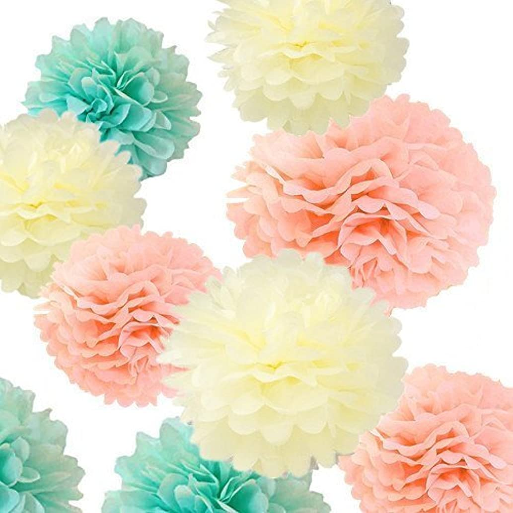 Fonder Mols 12pcs Large Sizes 8'' 10'' 12'' 14'' Ivory Peach Mint Party Tissue Pom Poms Flowers Decorations for Weddings, Birthday, Bridal, Baby Showers Nursery Wall Décor