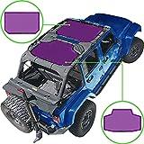 Alien Sunshade Jeep Wrangler JKU (2007-2018) – Front & Rear Mesh Sun Shade for Jeep JK Unlimited - Blocks UV, Wind, Noise - Bikini Jkini Top Cover for Sport, Sport S, Sahara, Rubicon (Purple)