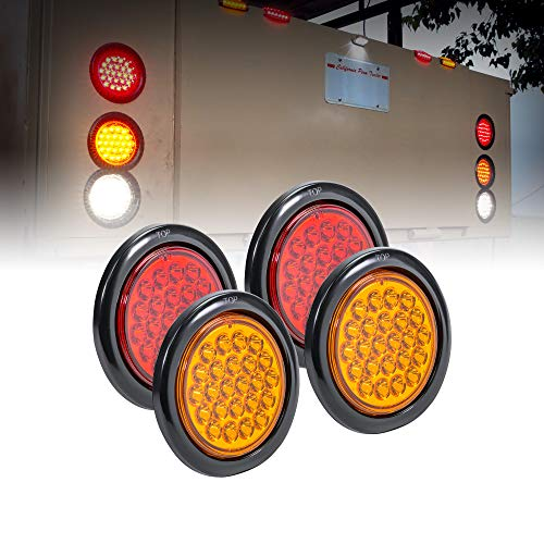 """2 Red + 2 Amber 4"""" Round 24 LED Trailer Tail Light Kit [DOT Certified] [Grommets & Plugs Included] [IP67 Waterproof] Stop Brake Turn Signal Park Trailer Lights For RV Truck"""