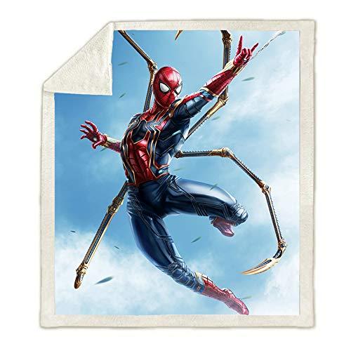 WTTING Spiderman-Decke, Motiv Superhelden, Marvel Avengers, Flanell, Cartoon, für Sofa, Bett, Wohnzimmer, Schlafzimmer (q,150 x 200 cm)