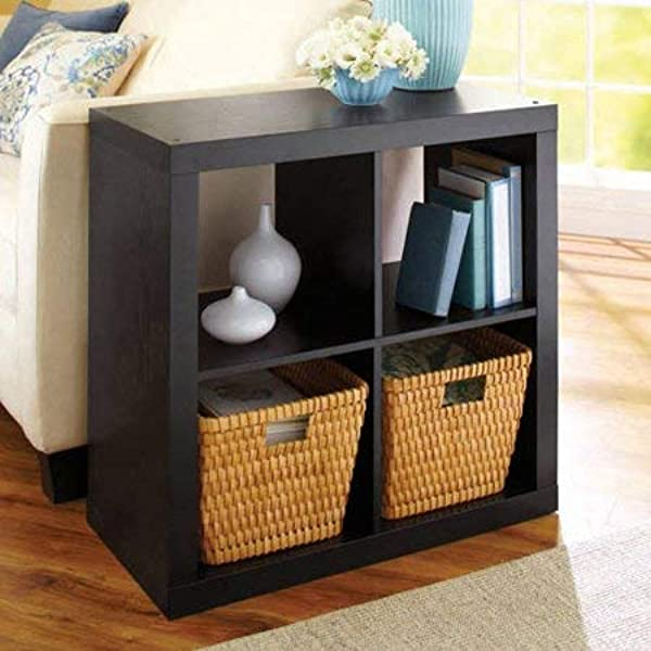 Better Homes And Gardens Wood Storage Square Organizer 4 Cube Bookshelf In Solid Black