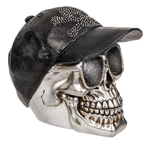 MIK Funshopping Spardose Sparbüchse Totenkopf Skull (Schädel mit Basecap Silber)