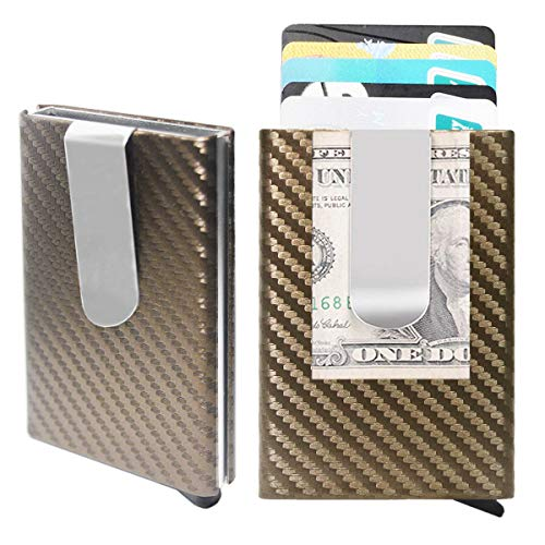 Credit Card Holder,Metal Money Clip,Carbon Fiber Leather Slim Wallets for Men RFID Blocking Auto Pop up Front Pocket Small Card Case Hold 5-7 Cards (Coffee)