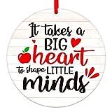 WaaHome Teacher Appreciation Gifts for Women, It Takes Big Heart to Shape Little Minds Ornament, End of Year Teacher Gifts for Graduation, Gifts for Retired Teacher Daycare Teacher