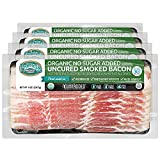 Pederson's Farms, Organic Bacon, Whole 30 (4 Pack, Use / Freeze) 8oz ea – No Sugar Added, Uncured, Keto Paleo Diet Friendly, No Nitrite Nitrate, Made in the USA