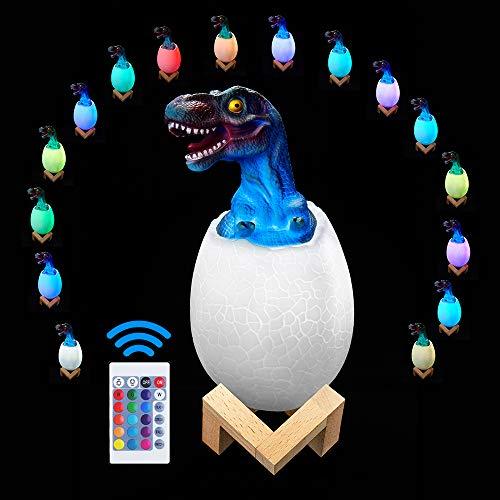 Ranpo luz nocturna 3D, juguetes de dinosaurios para niños, luces LED nocturnas, control táctil remoto de 16 colores, lámpara de mesa, escritorio, dormitorio, regalo para niños y amigos