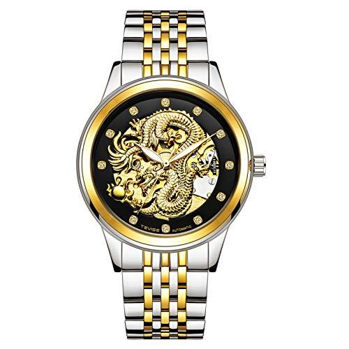 JTTM Reloj De Dragón Relojes Mecánicos Automáticos Hombres Lady Watch Relojes Impermeable Pareja Relojes,Gold Black