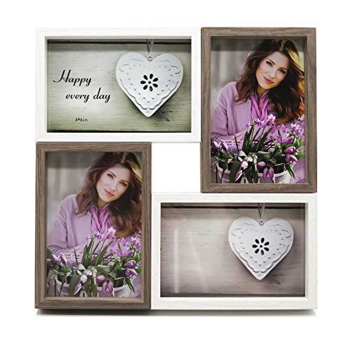Smiling Art Bilderrahmen Fotorahmen Collage für 4 Fotos, Foto Collage aus MDF Holz mit Glas (Weiß+Grau, 4x10x15 cm)