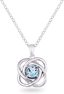 Sterling Silver Genuine, Created or Simulated Gemstone Polished Love Knot Pendant Necklace