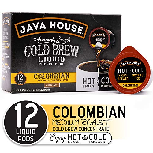 JAVA HOUSE Cold Brew Coffee, Colombian Medium Roast, Enjoy Hot or Iced, K Cup Coffee Concentrate Liquid Pods (12 Count)