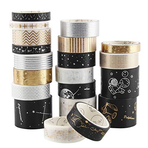 Samione Cinta Adhesiva Decorativa,20 Rollos Washi Glitter Adhesivo de Cinta Decorativa para tarjetas, artesanías, decoración del hogary empaques de regalo.