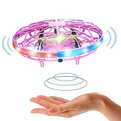 UFO Mini Drone for Kids Flying Saucer Toys Hand Control Helicopter Quadcopter Infrared Induction Flying Aircraft Hand Controlled Induction Levitation Rechargeable Flying Toy with LED Light (Pink)