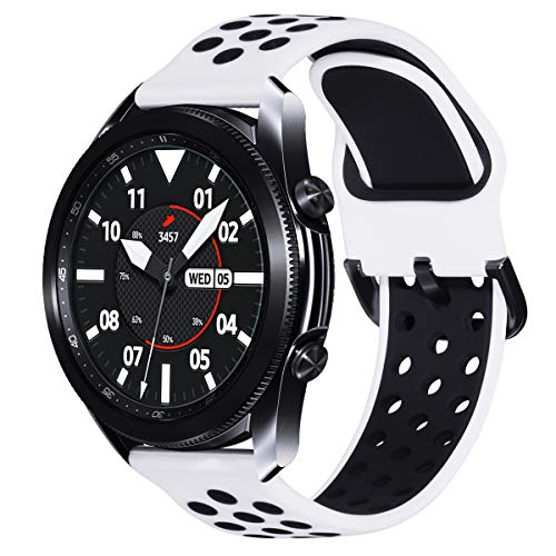 Fullife Compatible with Galaxy Watch Active 2 Bands 44mm 40mm, Soft Silicone Sport Band with Quick-Release Pin Replacement for Galaxy Watch 42mm Band Galaxy Watch 3 41mm Smart Watch, White/Black