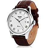 Mens Quartz Watch, Roman Numeral Business Casual Fashion Analog Wrist Watch Classic Calendar Date Window, Waterproof 30M Water Resistant Comfortable PU Leather Watches -Brown (Silver Border)